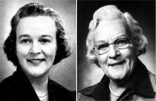 Photos reproduced by permission of Inter-Varsity Christian Fellowship.) Cathie Nicholl, pictured on the left as she appeared in her younger years and, on right, later in life.